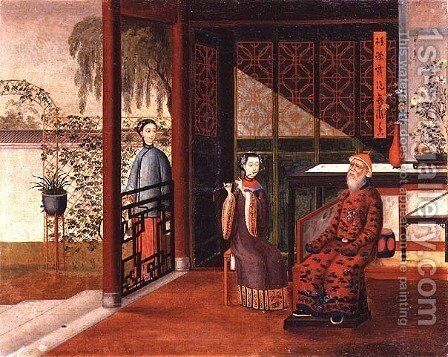 Flute recital in a garden room by Anonymous Artist - Reproduction Oil Painting