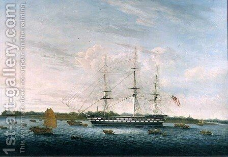 The Honourable East India Company's 'The Earl of Balcarras' at Canton, 1816 by Anonymous Artist - Reproduction Oil Painting
