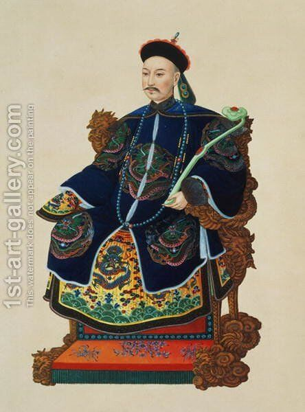 Portrait of a Mandarin by Anonymous Artist - Reproduction Oil Painting