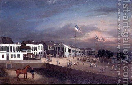 he International Factories (The Hongs) at Canton, c.1830-35 by Anonymous Artist - Reproduction Oil Painting