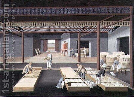 The Crating and Packing of Bowls and Dishes, plate 12 in a series of twelve depicting the process of Chinese porcelain manufacture by Anonymous Artist - Reproduction Oil Painting