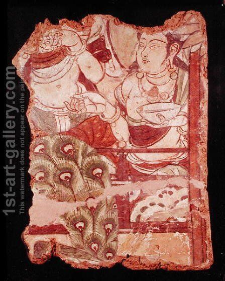 Fragment depicting a Buddhist paradise, from Duldur-Aqur, Xinjiang, c.700 AD by Anonymous Artist - Reproduction Oil Painting