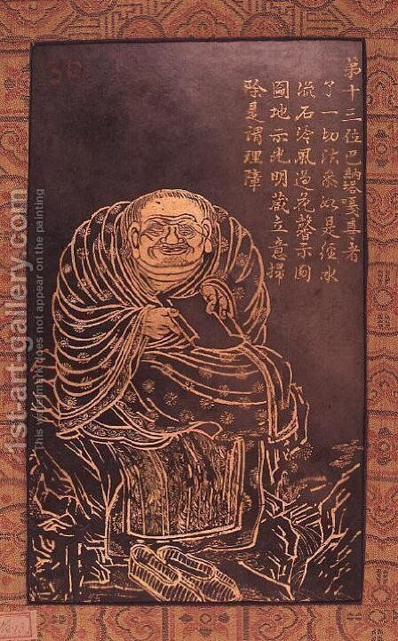 Lohan Panthaka, leaf from a book illustrating and describing sixteen Buddhist Lohans by Anonymous Artist - Reproduction Oil Painting
