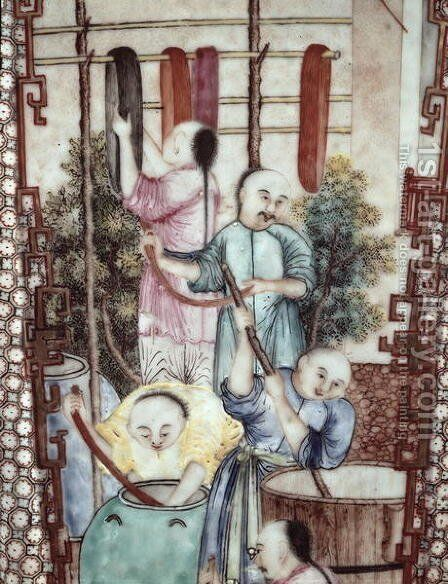Detail from a vase depicting men dyeing silk by Anonymous Artist - Reproduction Oil Painting