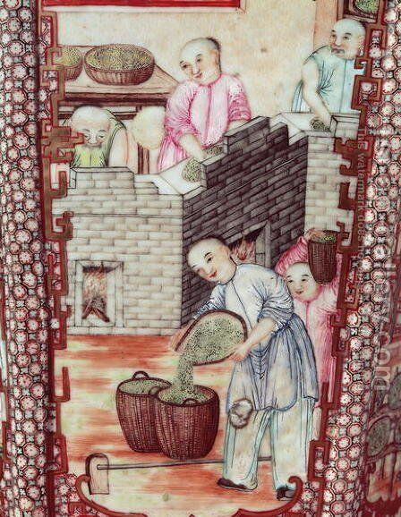 Detail from a vase depicting drying tea by Anonymous Artist - Reproduction Oil Painting