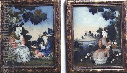 Courtly ladies by Anonymous Artist - Reproduction Oil Painting