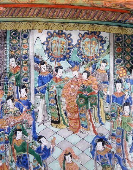 Large Famille Verte Charger, Kangxi period (1662-1722) by Anonymous Artist - Reproduction Oil Painting