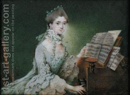 Portrait of a singer at the harpischord by Daniel Nikolaus Chodowiecki - Reproduction Oil Painting