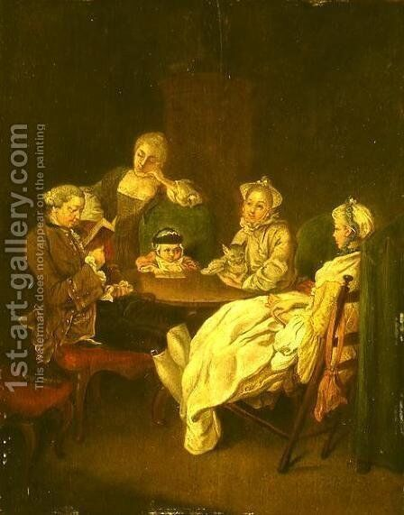 Society at the Table by Daniel Nikolaus Chodowiecki - Reproduction Oil Painting