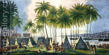 Port of Hanarourou in the Sandwich Islands, from 'Voyage Pittoresque autour du Monde', 1822 by (After) Choris, Ludwig (Louis) - Reproduction Oil Painting