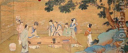 A Literary Gathering at Hsi Yuann in the eleventh century by Chou Ying - Reproduction Oil Painting