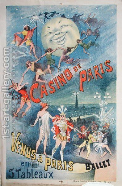 Poster advertising the Revue 'Venus a Paris' at the Casino de Paris (late 19th century) by Alfred Choubrac - Reproduction Oil Painting