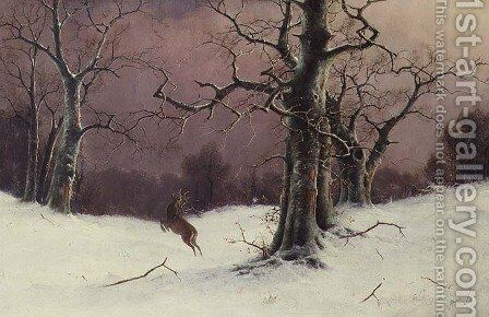 The Deer Hunt by Nils Hans Christiansen - Reproduction Oil Painting