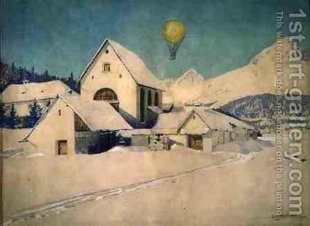 Landscape with an Air Balloon, 1910 by Anton Christoffel - Reproduction Oil Painting