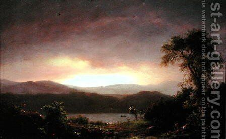 A Catskill Landscape, c.1858-60 by Frederic Edwin Church - Reproduction Oil Painting