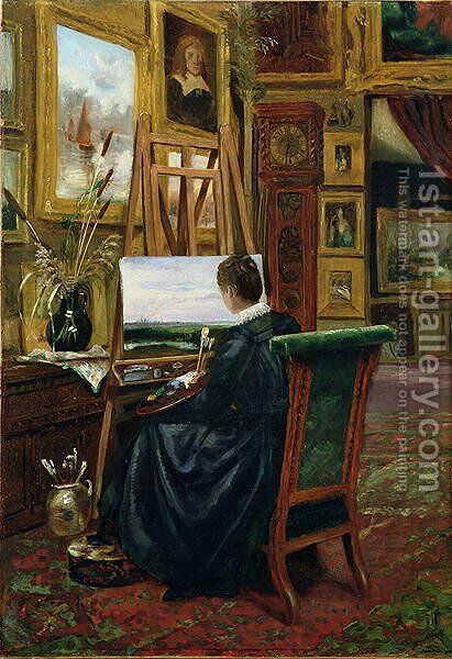 A Lady Artist, 1887 by Mary Churchill - Reproduction Oil Painting