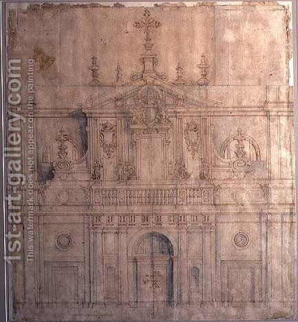 Design for the facade of Valladolid Cathedral by Alberto de Churriguera - Reproduction Oil Painting