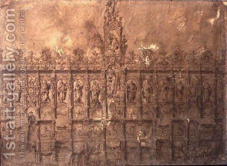 Design for the choir stalls by Alberto de Churriguera - Reproduction Oil Painting