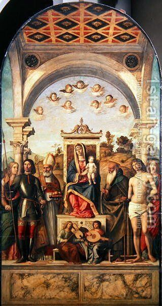Virgin and Child with Saints, 1499 by Giovanni Battista Cima da Conegliano - Reproduction Oil Painting
