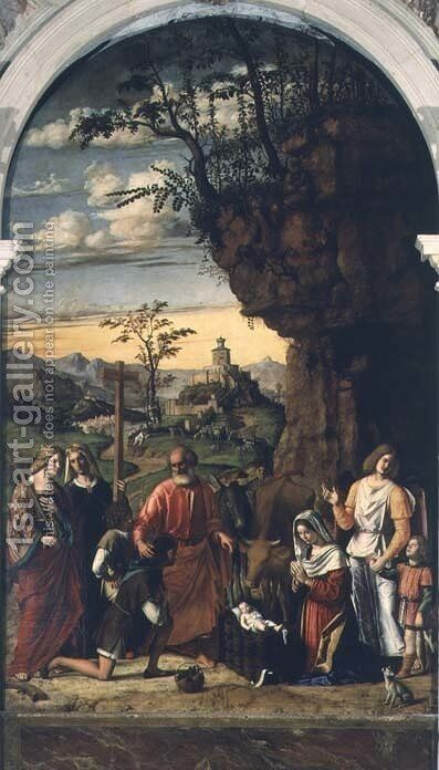 Nativity with Saints Helena, Catherine and Tobias the Angel by Giovanni Battista Cima da Conegliano - Reproduction Oil Painting