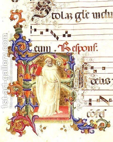 Historiated initial 'R' depicting St. Eligius, from a gradual from the Monastery of San Jacopo di Ripoli by (Cenni Di Peppi) Cimabue - Reproduction Oil Painting