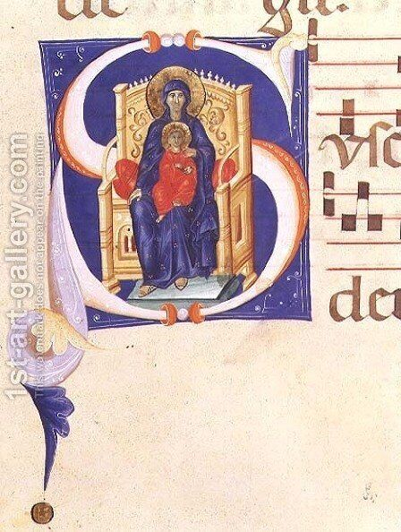 Historiated initial 'S' depicting the Madonna and Child enthroned, from a gradual from the monastery of San Jacopo di Ripoli by (Cenni Di Peppi) Cimabue - Reproduction Oil Painting