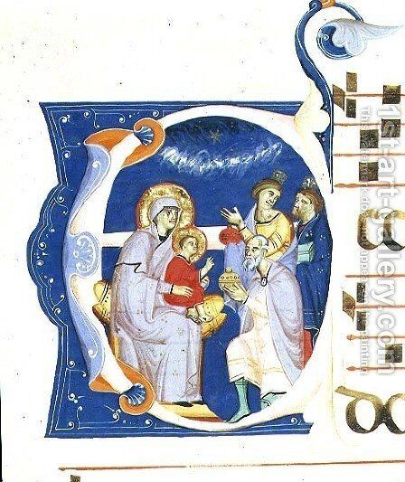 Historiated initial 'O' depicting the Adoration of the Magi, from a gradual from the Monastery of San Jacopo di Ripoli by (Cenni Di Peppi) Cimabue - Reproduction Oil Painting