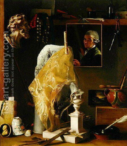 Still life of Objects with Self Portrait, 1739 by Antonio Cioci or Ciocchi - Reproduction Oil Painting