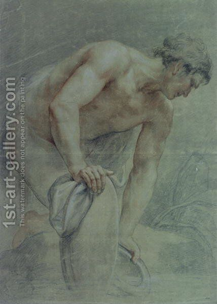 Figure of a Warrior, partly draped by Giovanni Battista Cipriani - Reproduction Oil Painting