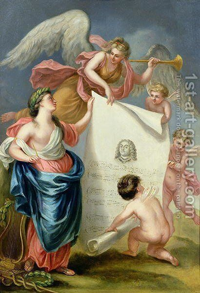 Allegorical study for a memorial print of Handel by Giovanni Battista Cipriani - Reproduction Oil Painting