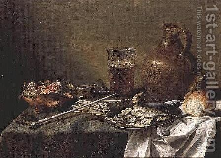 Still Life with Glass of Beer, 1644 by Pieter Claesz. - Reproduction Oil Painting