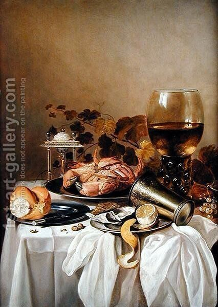 Still life with a crab and oyster, 1640s by Pieter Claesz. - Reproduction Oil Painting