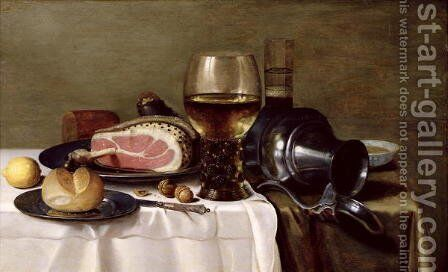 Still Life with Ham (2) by Pieter Claesz. - Reproduction Oil Painting