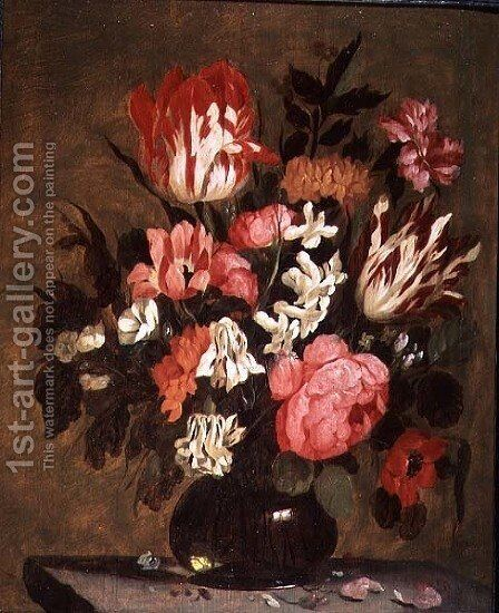 Flowers in a Glass Vase by Jacques de Claeuw - Reproduction Oil Painting