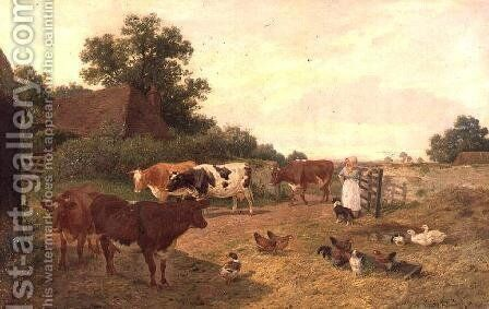 A Kentish Farm Scene, Milking-Time by Claude Clark - Reproduction Oil Painting