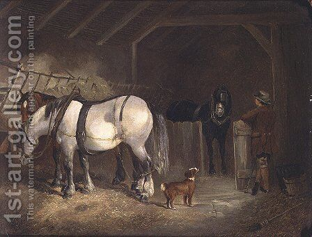 A Stable Interior by Joseph Clark - Reproduction Oil Painting