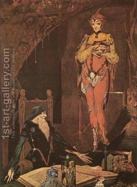 """Is There Anything in my Poor Power to Serve You?"", illustration from Faust by Goethe, 1925 by Harry Clarke - Reproduction Oil Painting"