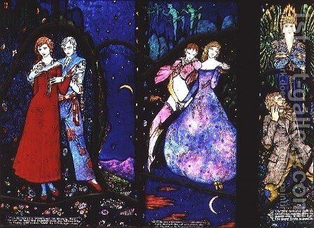 The Geneva Window depicting 'The Playboy of the Western World', 'The Dreamers' and 'The Demi Gods', 1929 by Harry Clarke - Reproduction Oil Painting