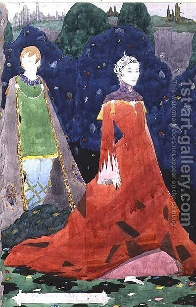 Design for Geneva Window showing the Countess Cathleen by Harry Clarke - Reproduction Oil Painting