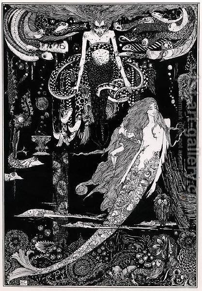 'I know what you want' said the sea witch, illustration for 'The Little Mermaid' from Fairy Tales c, 1910 by Harry Clarke - Reproduction Oil Painting