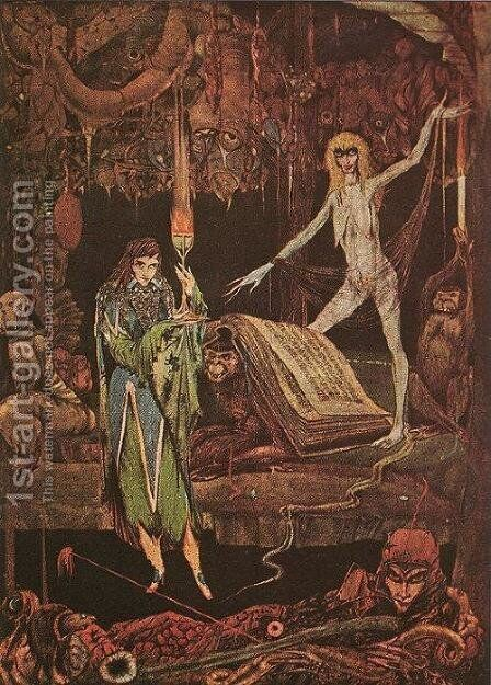 """""""Methinks, a Million Fools in Choir are Raving and Will Never Tire"""", illustration from Faust by Goethe, 1925 by Harry Clarke - Reproduction Oil Painting"""