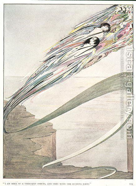 """""""I am born of a thousand storms, and grey with rushing rains"""", illustration to 'All is Spirit and Part of Me' by Harry Clarke - Reproduction Oil Painting"""