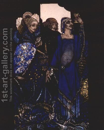 """""""Queens who wasted the East by proxy..."""" by Harry Clarke - Reproduction Oil Painting"""