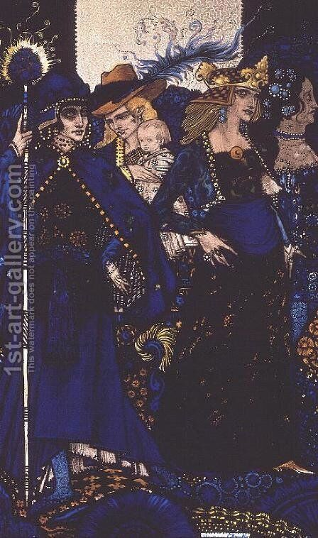 """""""The Queens of Sheba, Meath and Connaught"""" by Harry Clarke - Reproduction Oil Painting"""