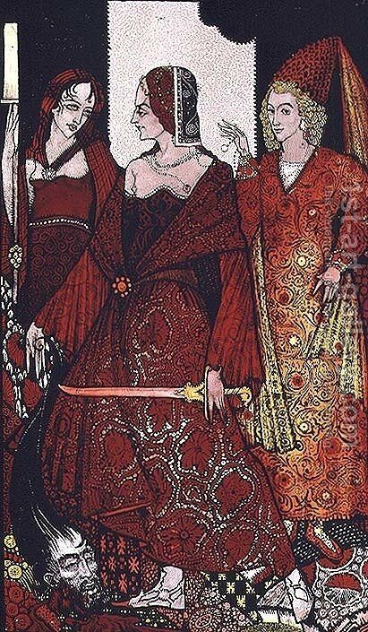 """Queens who cut the hogs of Glanna..."" by Harry Clarke - Reproduction Oil Painting"