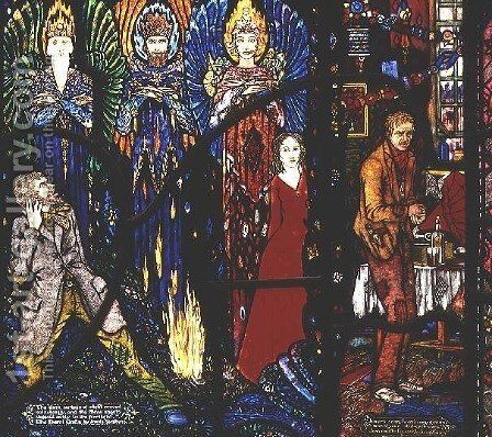 Detail from the Geneva Window depicting 'The Demi Gods' and 'Juno and the Paycock', 1929 by Harry Clarke - Reproduction Oil Painting
