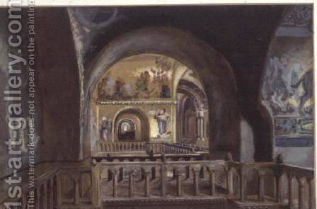 A View from a Gallery in St.Mark's Basilica, Venice by Sir Caspar Purdon Clarke - Reproduction Oil Painting