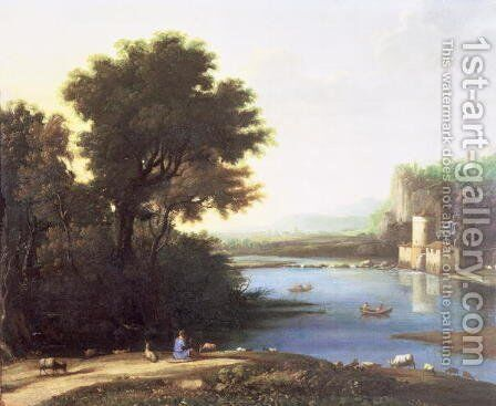 Italianate Landscape with a Goatherd Piping to his Goats by Claude Lorrain (Gellee) - Reproduction Oil Painting