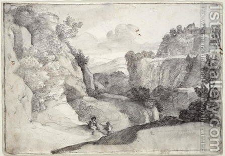 The Cascades of Tivoli by Claude Lorrain (Gellee) - Reproduction Oil Painting