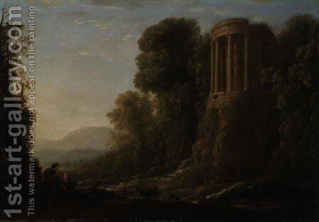 River Landscape with Tiburtine Temple at Tivoli, c.1635 by Claude Lorrain (Gellee) - Reproduction Oil Painting